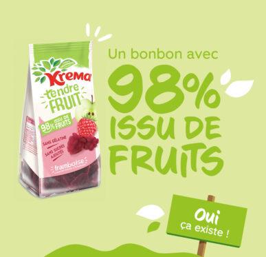 Krema Tendre fruit, le bonbon composé à 98% de Fruits !